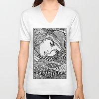 lichtenstein V-neck T-shirts featuring Zentangle Lichtenstein by butterflyandbear