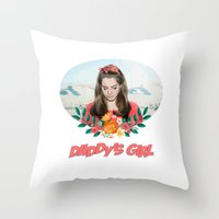 ultraviolence Throw Pillows featuring daddy's girl by Tiaguh