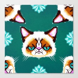Grumpy Cat Geometric Pattern Canvas Print