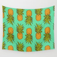 pineapples Wall Tapestries featuring Pineapples by Stephanie Keir
