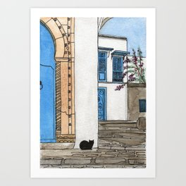 Blue Door, Black Cat Art Print