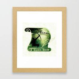 Robin Hood - Scroll - Green Framed Art Print