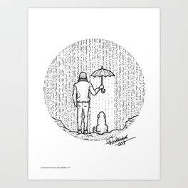 Man & Dog - Destiny - White Background Art Print