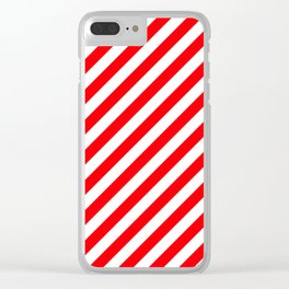 Christmas Red and White Candy Cane Stripes Clear iPhone Case