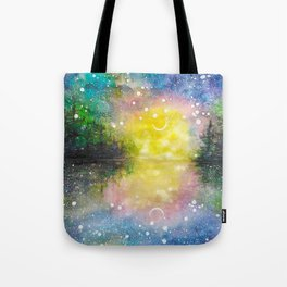 Crescent Moon Reflection Galaxy watercolor by CheyAnne Sexton Tote Bag