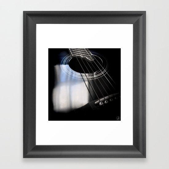 Blue Tone Guitar Instrument Photo Framed Art Print