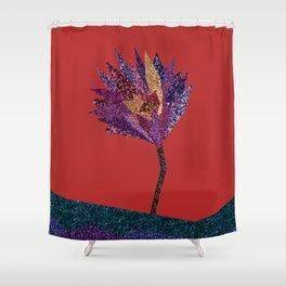 Purple Flower With Gold Streak Red Shower Curtain