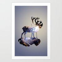 reindeer Art Prints featuring Reindeer by infloence