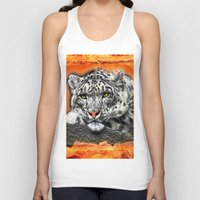 snow leopard Tank Tops featuring Snow Leopard by SwanniePhotoArt