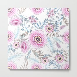 Watercolor . Pink flowers . Metal Print
