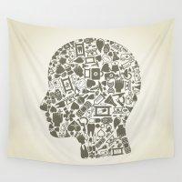 medicine Wall Tapestries featuring Head medicine by aleksander1