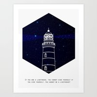 lighthouse Art Prints featuring Lighthouse by Mehdi Elkorchi