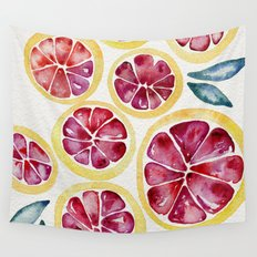 Sliced Grapefruits Watercolor Wall Tapestry