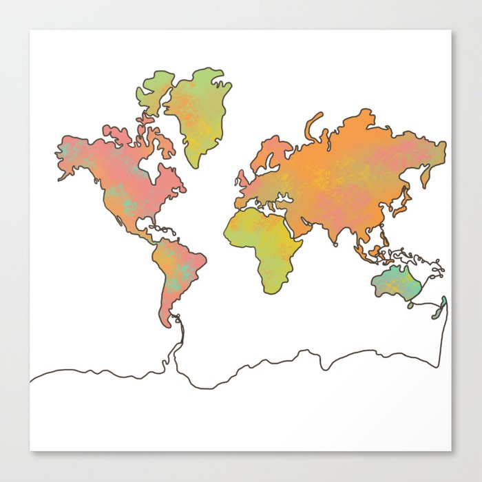 Contour Map of the World Canvas Print by nickip