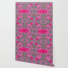 GREY &  CERISE PINK ROSES BROCADE PATTERN ART Wallpaper