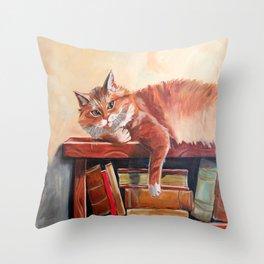Red cat on a bookshelf Throw Pillow