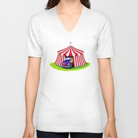 clown V-neck T-shirts featuring Clown by Maestral