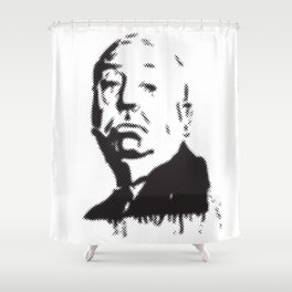 Halftone of Alfred Hitchcock Shower Curtain