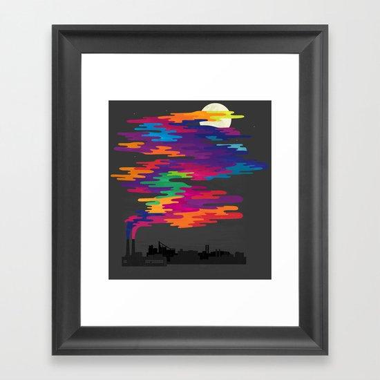 Hidden in the Smog (Night) Framed Art Print