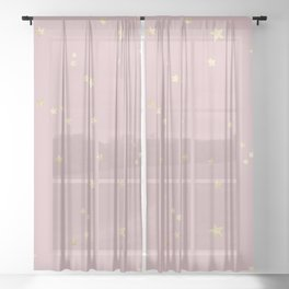 Pretty Pink & Gold Stars Sheer Curtain