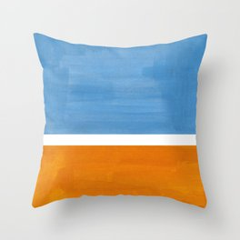 Rothko Minimalist Abstract Mid Century Color Black Square Periwinkle Yellow Ochre Throw Pillow