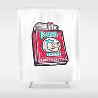 popeye Shower Curtains featuring Popeye Smokes  by Snack Paintings