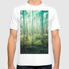 Magical Green Forest White Mens Fitted Tee MEDIUM