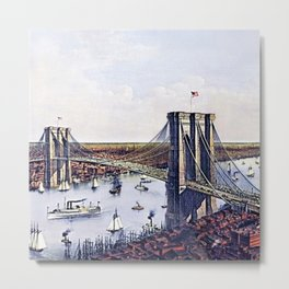 Vintage 19th Century East River Suspension Bridge - Brooklyn Bridge Lithograph Metal Print