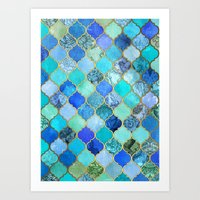 hippy Art Prints featuring Cobalt Blue, Aqua & Gold Decorative Moroccan Tile Pattern by micklyn