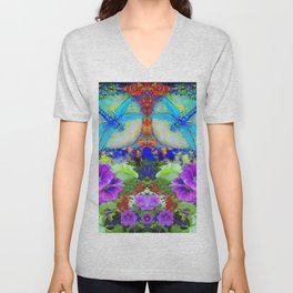 "BLUE ""ZINGER"" DRAGONFLIES  & PURPLE FLOWERS ART Unisex V-Neck"