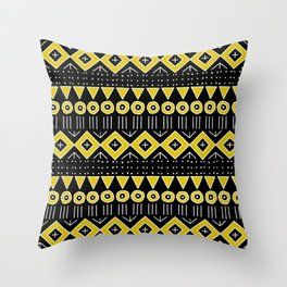 Mudcloth Style 2 in Black and Yellow Throw Pillow