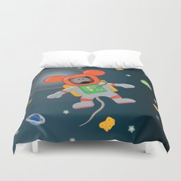 Space Mouse floating in space Duvet Cover