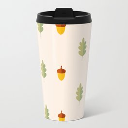 Autumn pattern with leaves and acorns on white background Travel Mug
