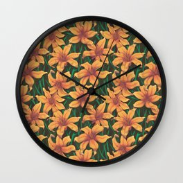 Day Lily Flower Pattern Wall Clock