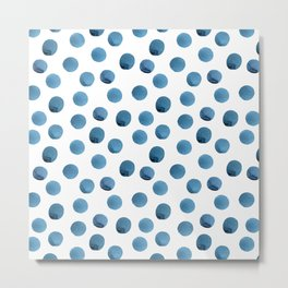 Hand painted seamless watercolor polka dot pattern in indigo blue Metal Print