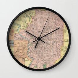 Vintage Map of Indianapolis Indiana (1903) Wall Clock
