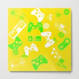 Video Games green on yellow Metal Print