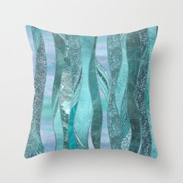 Precious Aqua And Turquoise Glamour Throw Pillow