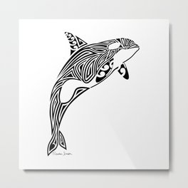 Tribal Orca Metal Print