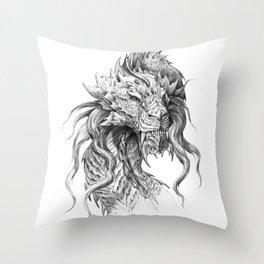 Dark Side Japanese Dragon portrait | Graphite Pencil art Throw Pillow