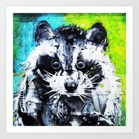raccoon Art Prints featuring RACCOON by Maioriz Home