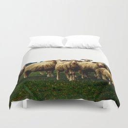 Sheep on a Grassy Hill Duvet Cover