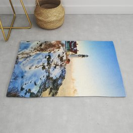 Lighthouse in a snowy shore watercolor painting  Rug