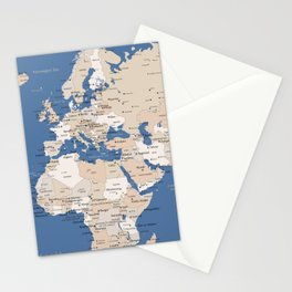 Let's get lost detailed world map with cities in blue and brown, Gabriel Stationery Cards