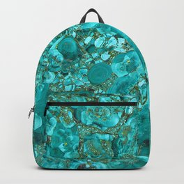 Marble Turquoise Blue Gold Backpack