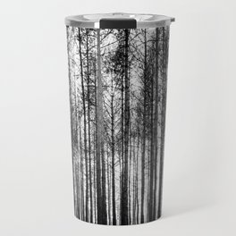 trees in forest landscape - black and white nature photography Travel Mug