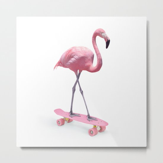 LIMITED EDITION SKATE FLAMINGO Metal Print