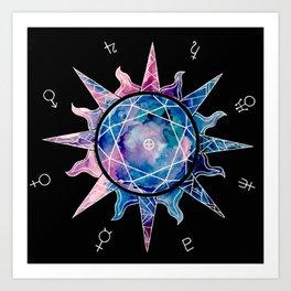 Crystal Sun | Planet Symbol | Watercolor Art Print
