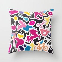 Sticker Frenzy Throw Pillow