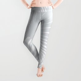 Pale Grey Tropical Leaves Leggings